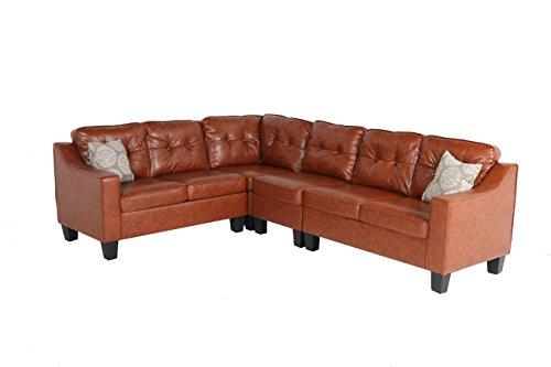 (Oliver Smith - Large Redish Light Brown Leather Cloth Modern Contemporary Quality Sectional Left or Right Adjustable Sectional 106
