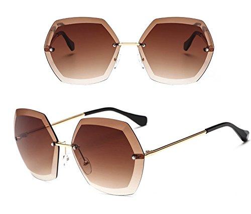 de marco de recorte Film Ocean de Lady Amarillo sol brown sin Nuevas GGFTX gafas moda qnSwWwIRC