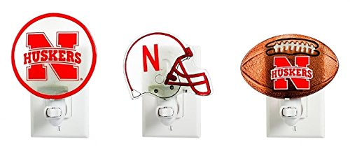 Evergreen NCAA Nebraska Cornhuskers Glass Night Light3 Assorted 18 Piece, Team Colors, One Size
