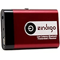 Indigo BTR9L Low Latency Wireless Bluetooth Stereo Transmitter and Receiver 2-in-1 Switchable Adapter for TVs, Computers, MP3 Players, iPods, Headphones