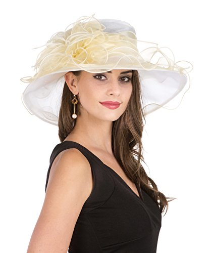 SAFERIN Lady Tea Party Kentucky Derby Church Wedding Dress Church Hat Bridal Shower (2867-Beige and Champagne) (Fashion Womens Derby)