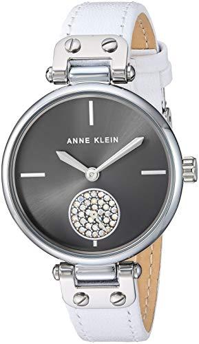 Anne Klein Women's AK/3381GYWT Swarovski Crystal Accented Silver-Tone and White Leather Strap ()