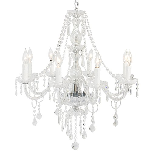 Best Choice Products Crystal Chandelier 8 Lights Pendant Glass Ceiling Lamp Center Lighting