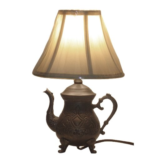 Vintage Victorian Style Bronze Finished Tea Pot 14.5 Inch Table Lamp