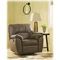 Ashley Furniture Signature Design - Amazon Rocker Recliner - Pull Tab Manual Reclining Contemporary - Walnut