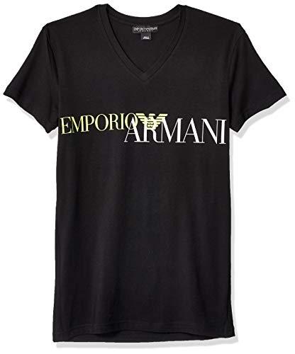 Emporio Armani Men's Megalogo V-Neck T-Shirt, Black, -