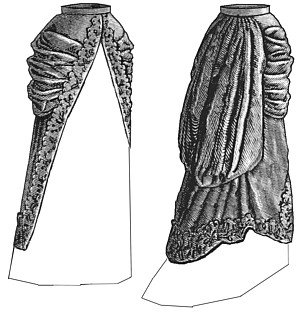 Victorian Skirts | Bustle, Walking, Edwardian Skirts 1880 Split Pannier Overskirt Pattern $13.35 AT vintagedancer.com