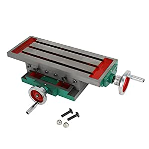 Mophorn Compound Slide Milling Table 17.7 X 6.7 Inch Precision Milling Cross Worktable Multifunction Milling Support Table for All Drill Stands Bench Drilling Milling Vise Vice Machine (450 X 170 MM)