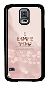 Pink I Love You PC Black Hard Case Cover Skin For Samsung Galaxy S5 I9600
