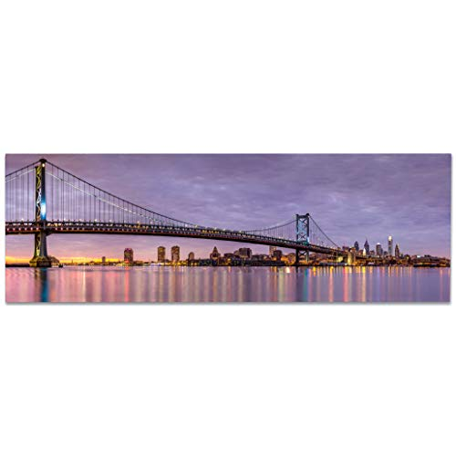 Modern 48x16 Full Color Metal Panoramic Print of The Ben Franklin Bridge and Philadelphia Skyline, Under a Purple Sunset Printed on Premium Dibond Aluminum Home Decor(Philadelphia) ()