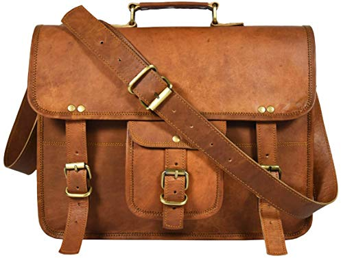 Boots Goat Handmade Leather (15 Inch Vintage Leather Laptop Messenger Bag Crossbody Satchel for Men and Women)