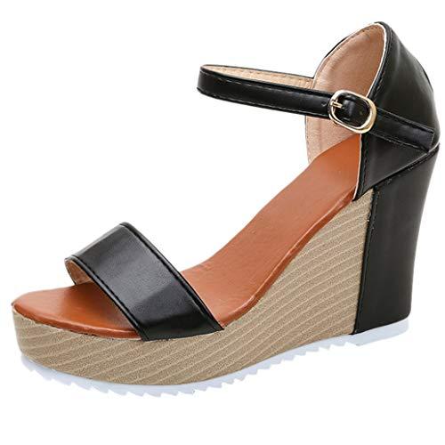Loosebee Women'S Platform Buckle With Platform Wedge Sandals