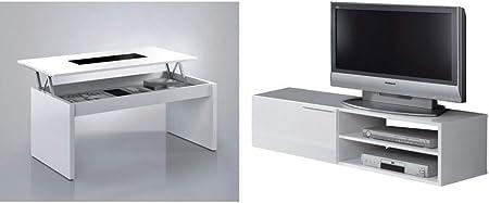 iWork Conjunto de Muebles para el salón Compuesto de Mueble para el televisor y Mesa de Centro elevable con Cristal,: Amazon.es: Hogar