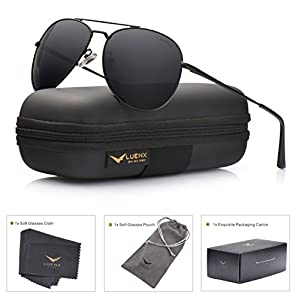 LUENX Aviator Sunglasses Polarized Men Women with Accessories Metal Frame UV 400 Driving Fashion 60MM