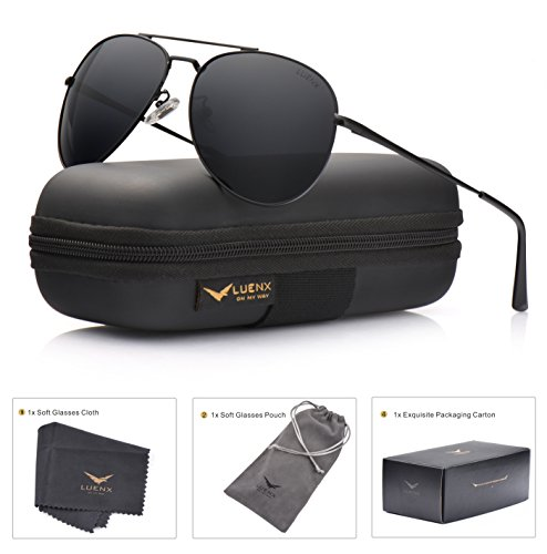 LUENX Aviator Sunglasses Men Women Polarized with Case - UV 400 Non Mirror Black Lens Metal Black Frame - 400 Sunglasses Uv