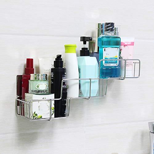 VIAV Adhesive Shower Caddy with Hooks Stainless Steel Wall Mounted Bathroom Shelf Storage Organizer No Drilling Basket, Rustproof
