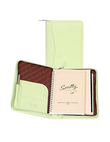 Scully Soft Lamb Leather Zip Weekly Planner (Mint Green) - Scully Leather Zip Weekly Planner