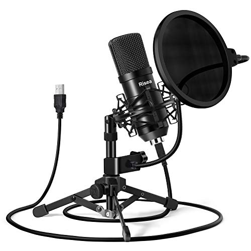 USB Gaming Microphone, Risea Computer Condenser PC Mic with Tripod Stand & Pop Filter for Streaming, Podcasting, Gaming…
