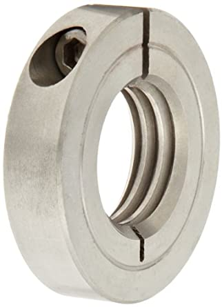 "Climax Metal TC-025-28-S Shaft Collar, One Piece, Threaded, Stainless Steel, 1/4-28 Internal Thread, 13/16"" OD, 1/4"" Width, With 4-40 x 3/8 Clamp Screw"