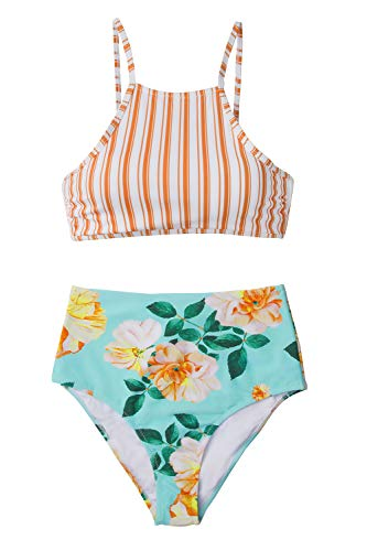e209accc61e7b CUPSHE Women's Leaves Printing High Waisted Bikini Set Tankini Swimwear  (Medium, Orange Stripe)