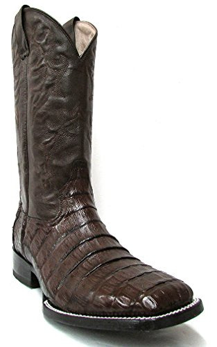 cono Line Caiman Belly Tail Square Toe Brown Cowboy Boots 10 EE (Caiman Tail)