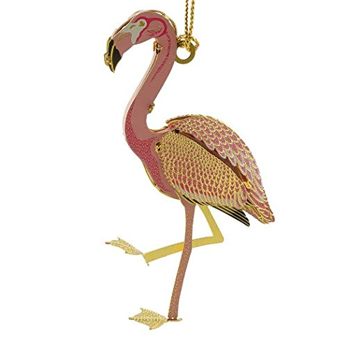 New 24KT Gold Finished 2D Pink Flamingo Christmas Tree Ornament