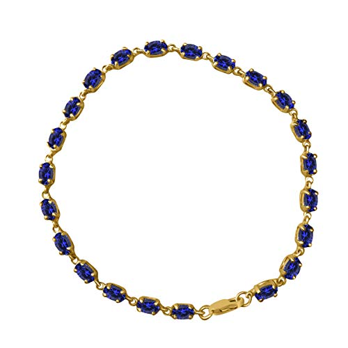 5.00 Carat Oval Shape Tanzanite Bracelet In 10K Solid Rose, White & Yellow -