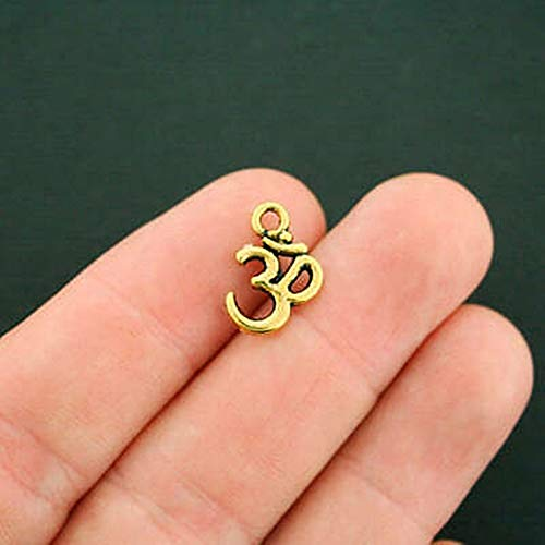 8 Om Charms Antique Gold Tone 2 Sided for Pendant Bracelet DIY Jewelry Making Kit