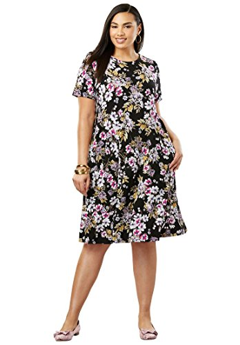 Jessica London Women's Plus Size A-Line Dress Black Bouquet Floral,12 ()