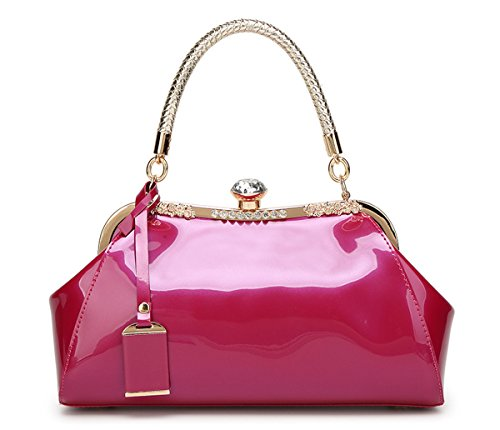 C&L Fashion Patent PU Leather Kiss-Lock Structured Womens Purse Handbag with Removable Strap (Rosered) by C&L