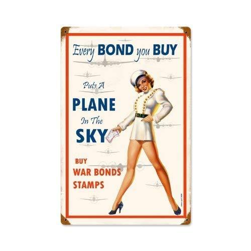 (War Bonds Pinup Girl Aviaton Military Vintage Metal Sign TIN Sign 7.8X11.8 INCH)
