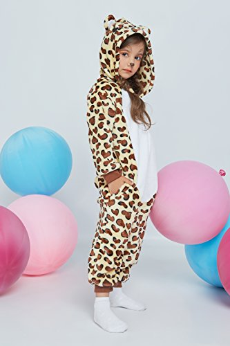 Kids Leopard Kigurumi Animal Onesie Pajamas Plush Onsie One Piece Cosplay Costume (Yellow, Brown, White) by Nothing But Love (Image #3)