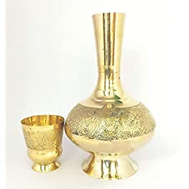 B & A Ventures Brass MUGHAL Design SURHAI/Brass JUG with Glass/MUGHAL Water Container(12 INCHES,1.5 LTRS)