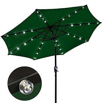 9 Ft Outdoor Tilt Umbrella With Solar LED Lights (green)
