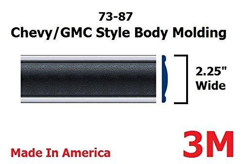 1973-1987 Chevy GMC Black Side Body Trim Molding Full Size Pickup Truck – 2.25″ Wide – C10, C20, C30, K10, K20, K30, V10, Suburban, Custom Deluxe, Silverado, Pickup Trucks