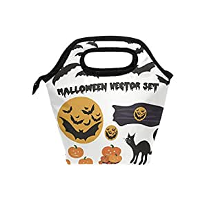 f7446bf48b27 Amazon.com - HEOEH Black Cat Pumpkin Moom Broom Lunch Bag Cooler ...
