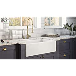 Farmhouse Kitchen Ruvati 30 x 20 inch Fireclay Reversible Farmhouse Apron-Front Kitchen Sink Single Bowl – White – RVL2100WH farmhouse kitchen sinks