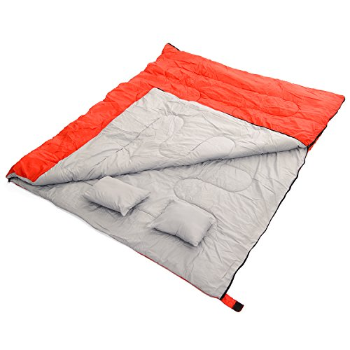 California-Basics-3-4-Season-400GSM-Double-Sleeping-Bag-with-Water-Resistant-Shell-for-Camping-Hiking-Backpacking-and-Outdoors-includes-2-Pillows-and-Compression-Bag-RedGrey
