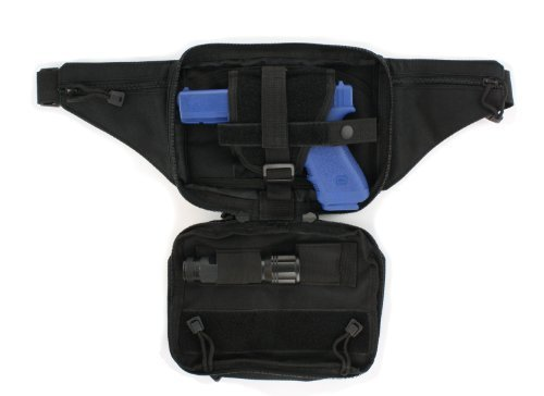- Black Tactical Pistol Concealment Fanny Pack - CCW Concealed Carry Gun Pouch with Holster