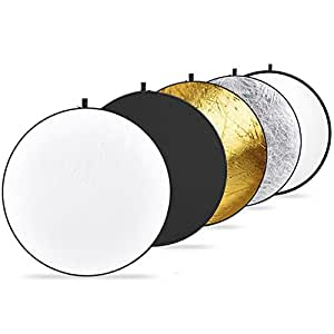 Neewer 43-inch/110cm 5-in-1 Collapsible Multi-Disc Light Reflector with Bag - Translucent, Silver, Gold, White and Black