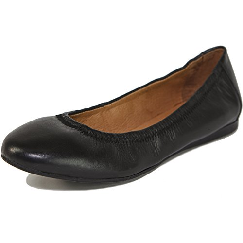Alpine Swiss Women's Vera Ballet Flats European Made Leather Shoes Black 9 M - Shoes Leather Dressy