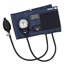 MABIS Precision Series Aneroid Sphygmomanometer Manual Blood Pressure Monitor with Calibrated Blue Nylon Cuff and Carrying Case, Cuff Size 16.1 to 24.2 inches, Thigh