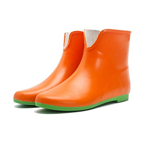 NAN Fashion rain boots women's short tube boots water shoes flat with adult flat low anti-slip rubber boots water boots (Color : 01, Size : EU36/UK4/CN36) 02
