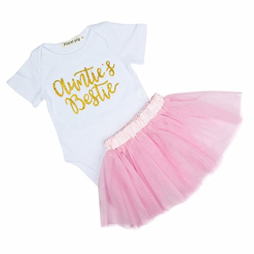 IU Newborn Baby Girls Clothes, 3Pcs Baby Auntie's Bestie Romper Headband Tutu Skirt Dress Set,White,80/6-12M