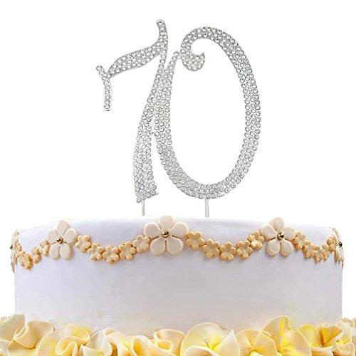 DreamsEden 70th Birthday Cake Topper - Crystal Rhinestone Wedding Anniversary Party Favors Decorations (70th/ Silver) -