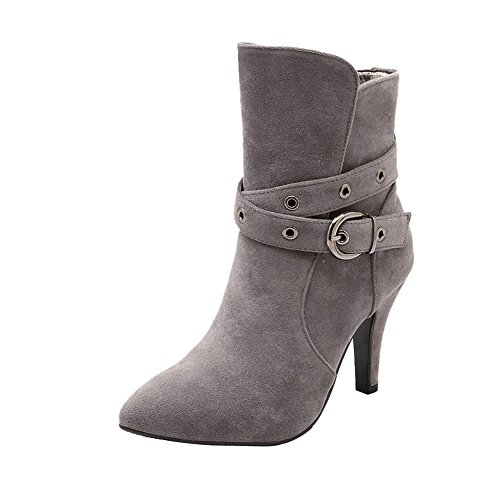 Knöchelstiefel Damen Nubukleder Shoes Dekoration Schnalle Mee modern Grau UYqxO