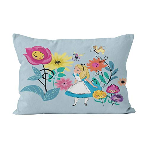 Suklly Alice in Wonderland The Wonderland Flowers Unique Hidden Zipper Home Decorative Rectangle Throw Pillow Cover Cushion Case 20x36 Inch King One Side Design Printed Pillowcase ()