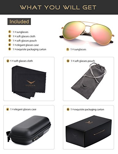a07a13dade LUENX Womens Sunglasses Aviator Polarized Pink Mirror UV 400 Protection  Gold Frame 60mm