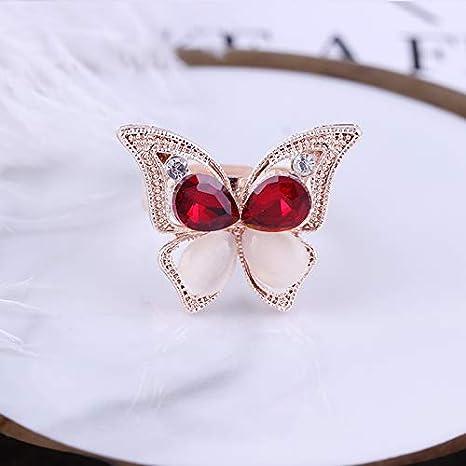 boucles doreilles et bagues pour mari/ée Wisilan Parure de bijoux en alliage en forme de papillon incrust/é de rubis