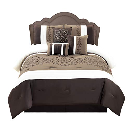 (WPM 7 Pieces Complete Bedding Ensemble Brown taupe Victorian print Luxury Embroidery Comforter Set Bed-in-a-bag Bedding-Elizabeth (Queen))